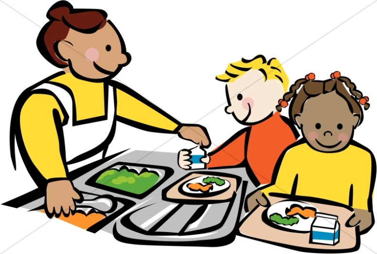Children getting lunch at. Cafeteria clipart child