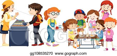 Cafeteria clipart child. Eps vector children eating