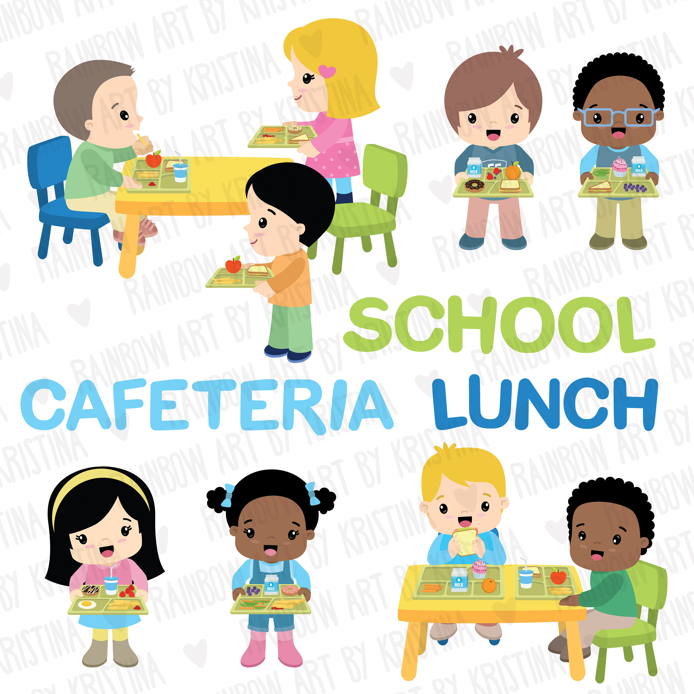 School children lunch clip. Cafeteria clipart child