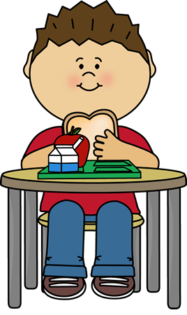 Boy eating cafeteria lunch. Breakfast clipart student