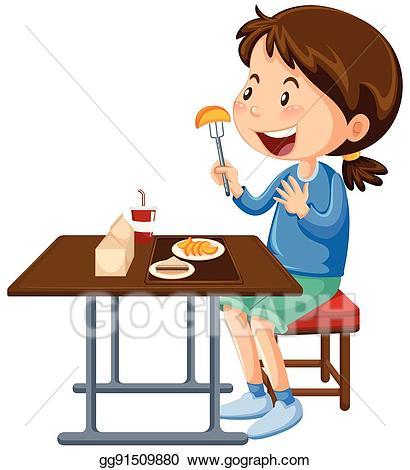 Vector art girl eating. Restaurants clipart canteen