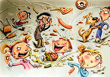 Cafeteria clipart food fight, Cafeteria food fight ...