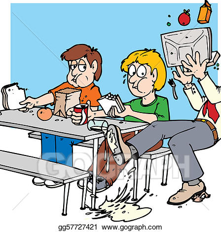 Vector art lunch room. Cafeteria clipart lunchroom