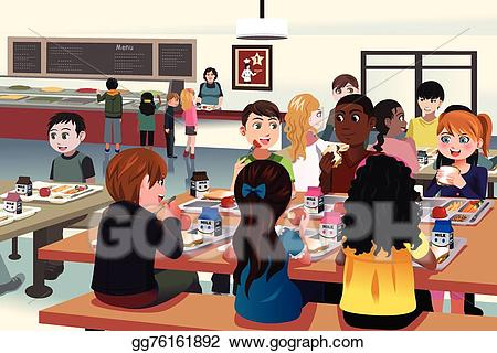 Cafeteria clipart school cafeteria. Vector art kids eating