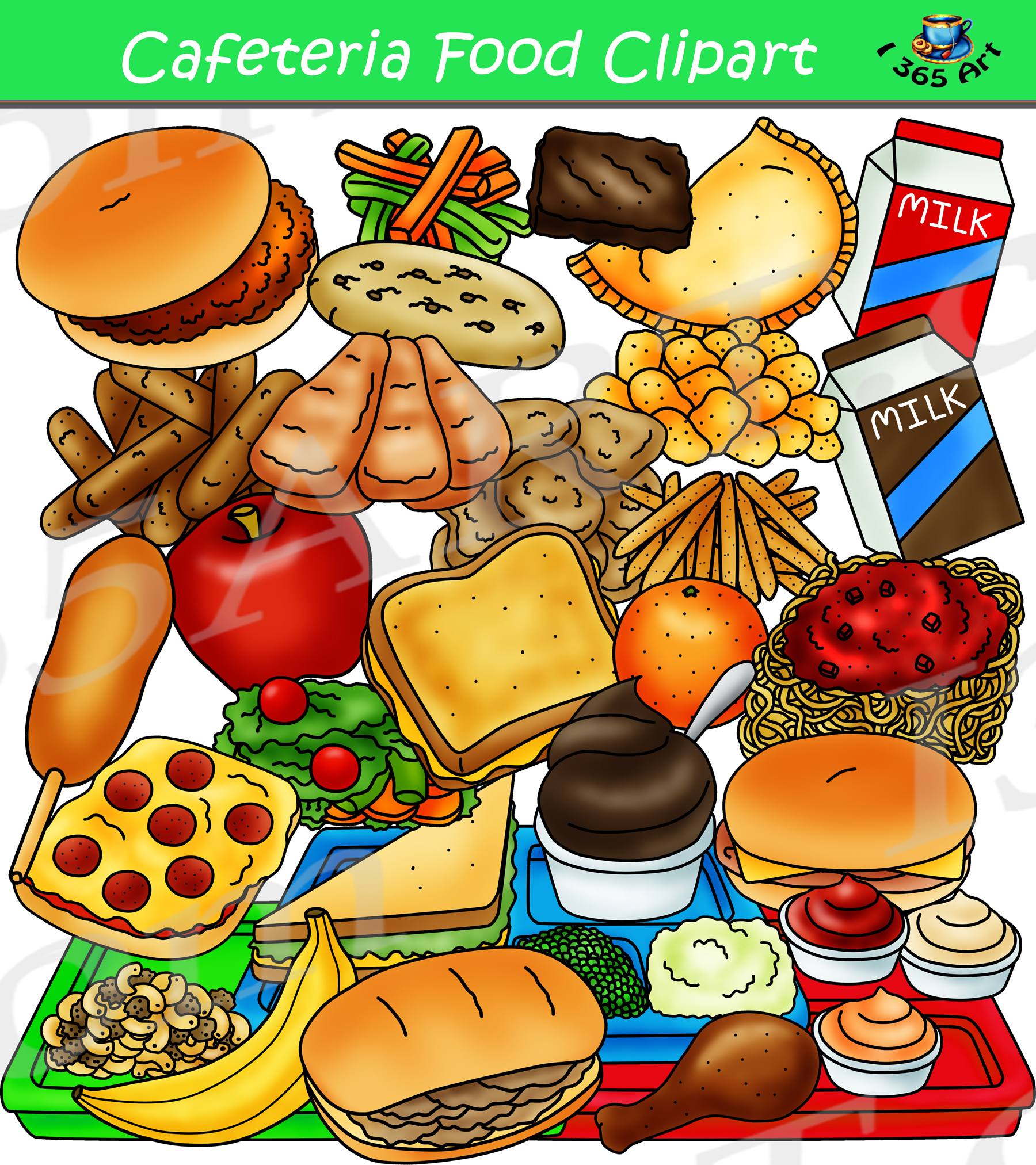 Cafeteria clipart school lunch tray. Food graphics set build