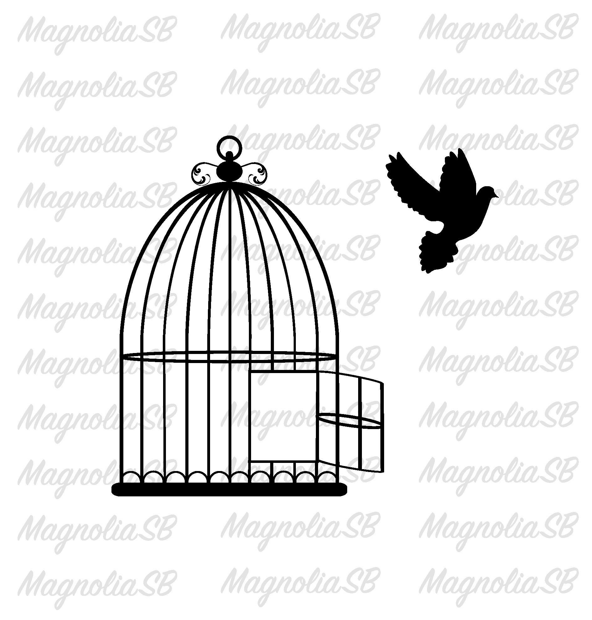 And dove svg dxf. Cage clipart bird cage
