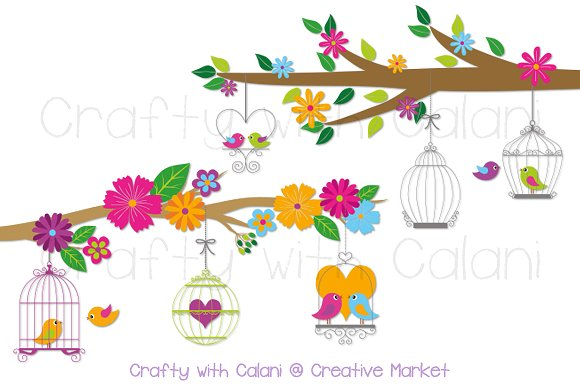 Cage clipart bird cage. Love with illustrations creative