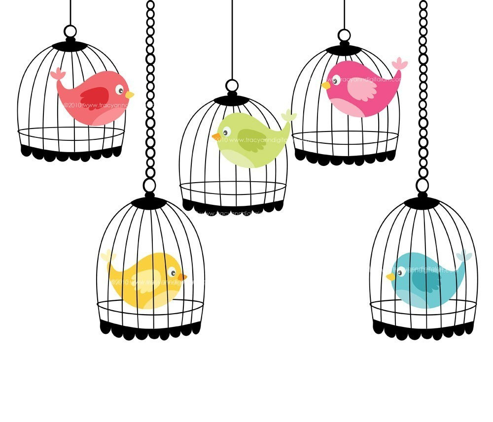 Whimsical . Cage clipart bird cage