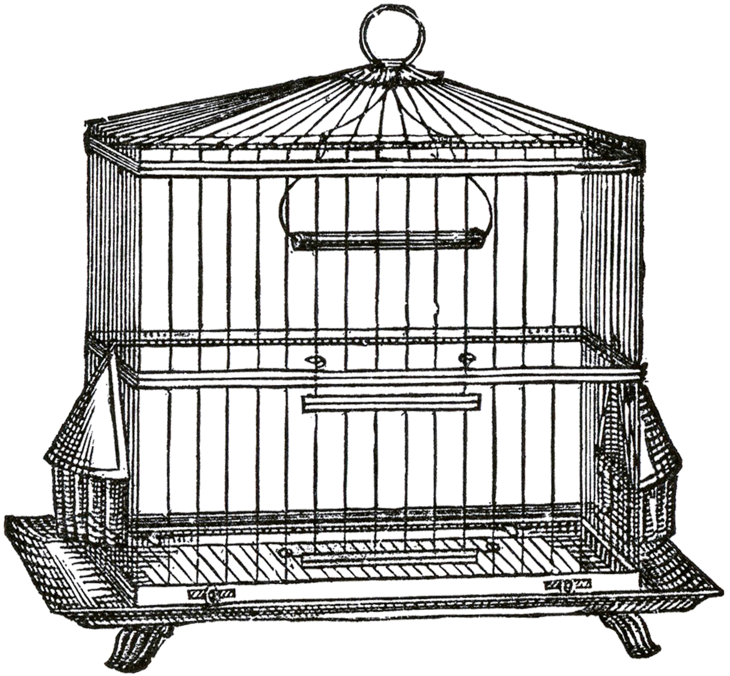 Cage clipart black and white. Vintage wire bird image