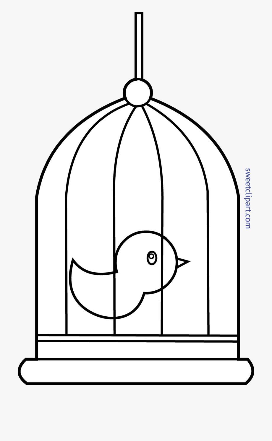 Huge bird in png. Cage clipart black and white