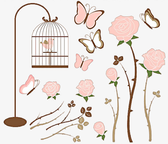 Bird flowers beautiful material. Cage clipart butterfly