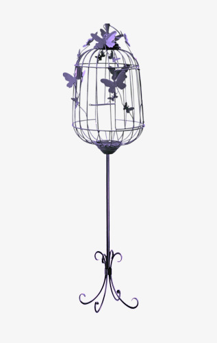Hand painted purple birdcage. Cage clipart butterfly