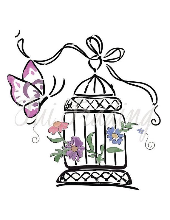 Vector bird svg birdcage. Cage clipart butterfly
