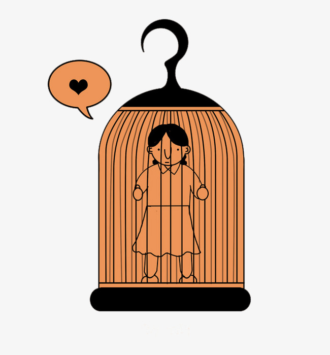 Cage clipart cartoon. Woman trapped in a