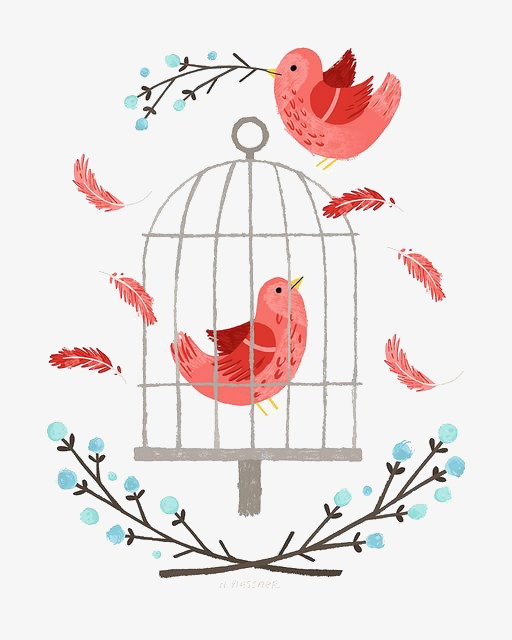 Bird illustration hand painted. Cage clipart cartoon