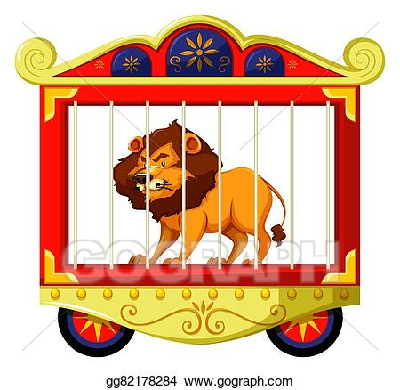 Cage clipart cartoon. Vector art lion in