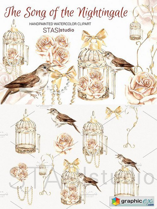 Cage clipart gold bird. Nightingale free download vector
