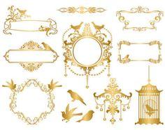 Instant download gold frame. Cage clipart golden bird