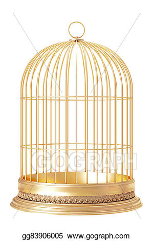 Cage clipart golden bird. Stock illustration drawing gg
