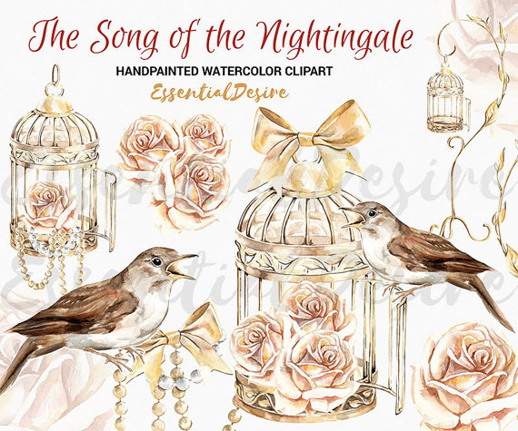 Watercolor nightingale illustration roses. Cage clipart golden bird