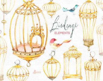 Cage clipart golden bird. Birdcage etsy