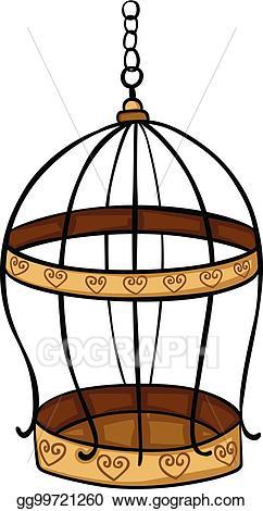 Vector illustration eps . Cage clipart golden bird