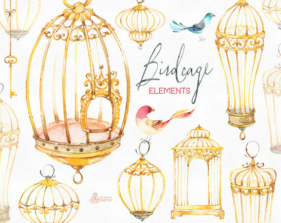 Birdcage elements watercolor with. Cage clipart golden bird