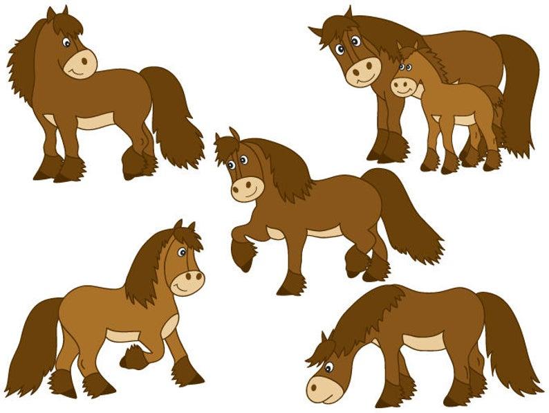 Digital farm horse pony. Horses clipart vector