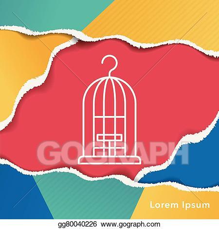 Cage clipart line. Vector bird icon illustration