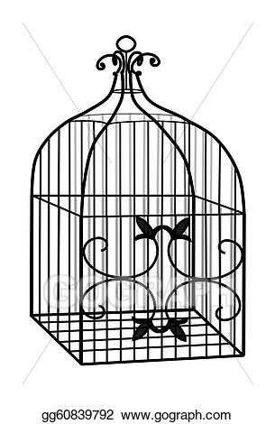 Stock illustrations d bird. Cage clipart line