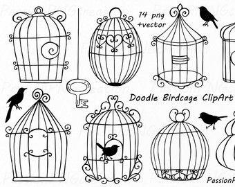 Cage clipart line. Doodle birdcage wedding bird