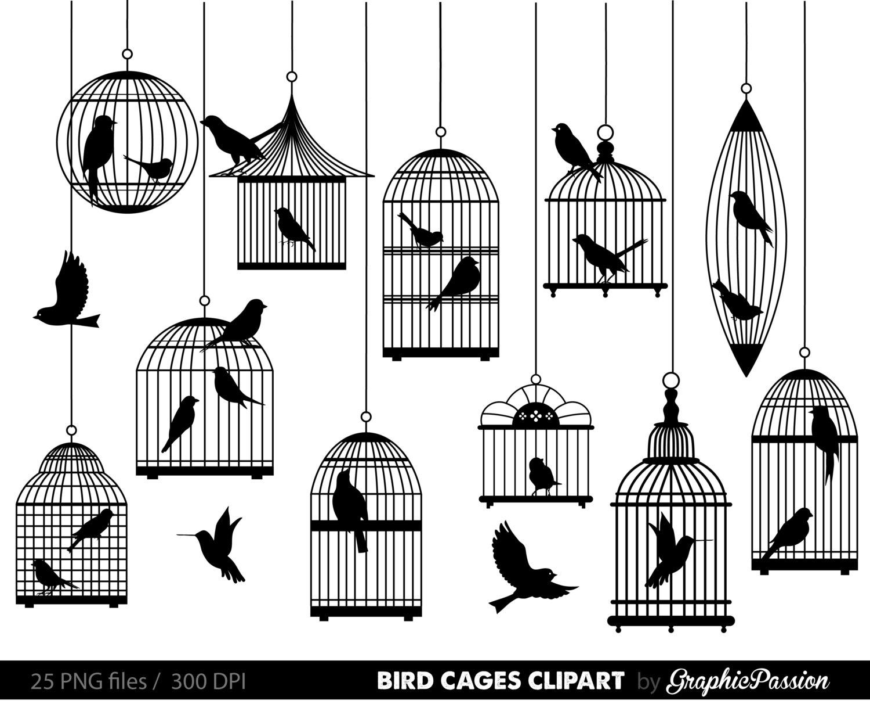 Digital bird clip art. Cage clipart line