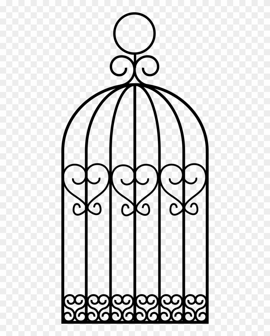Cage clipart line. Bird png drawing a