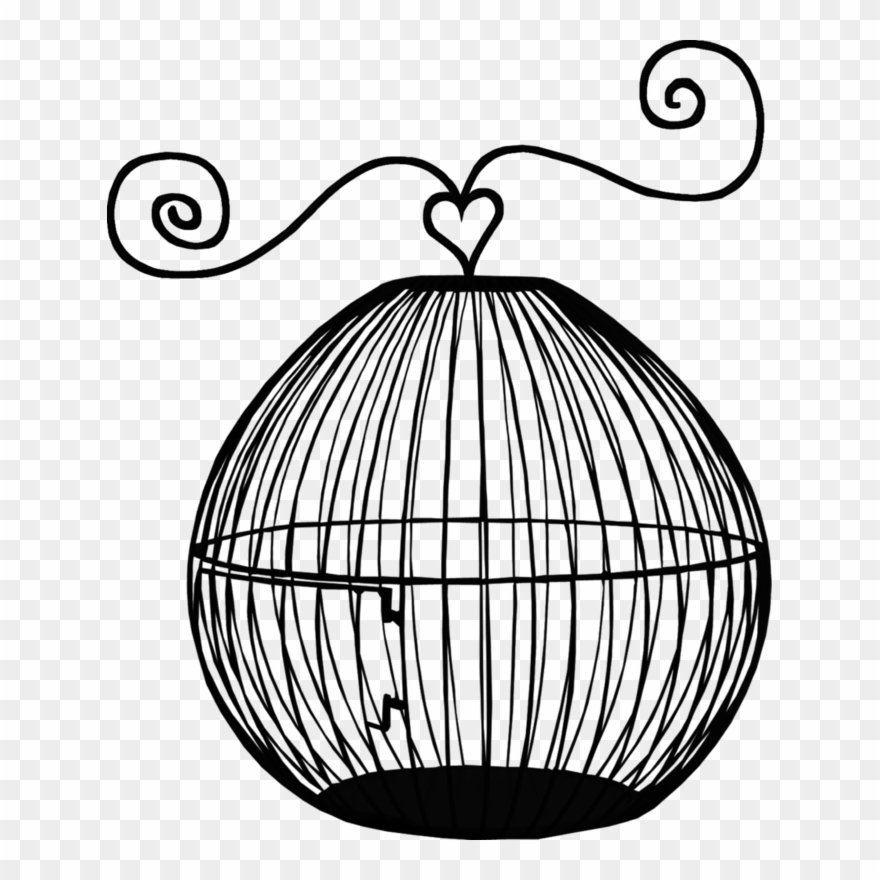 Empty bird cages pinclipart. Cage clipart line