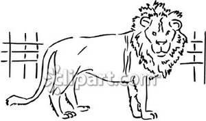 Cage clipart lion. Black and white in