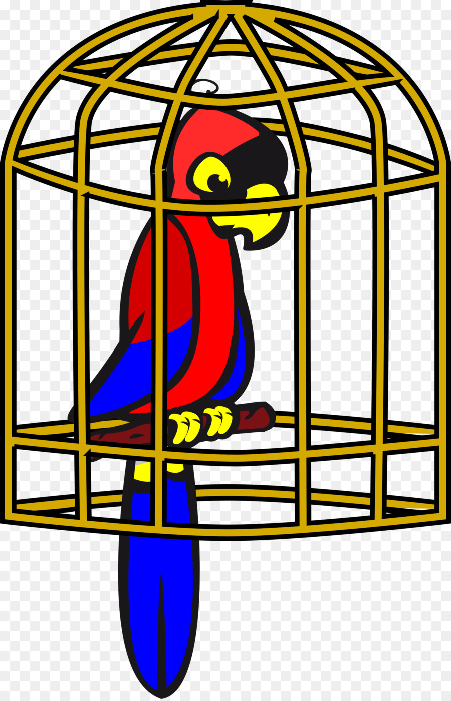 Bird illustration transparent . Cage clipart parrot