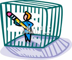 A using pencil to. Cage clipart person