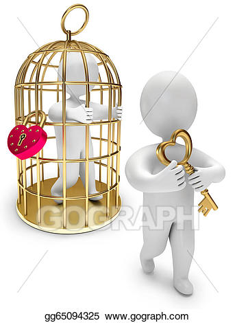 Drawing man in a. Cage clipart person