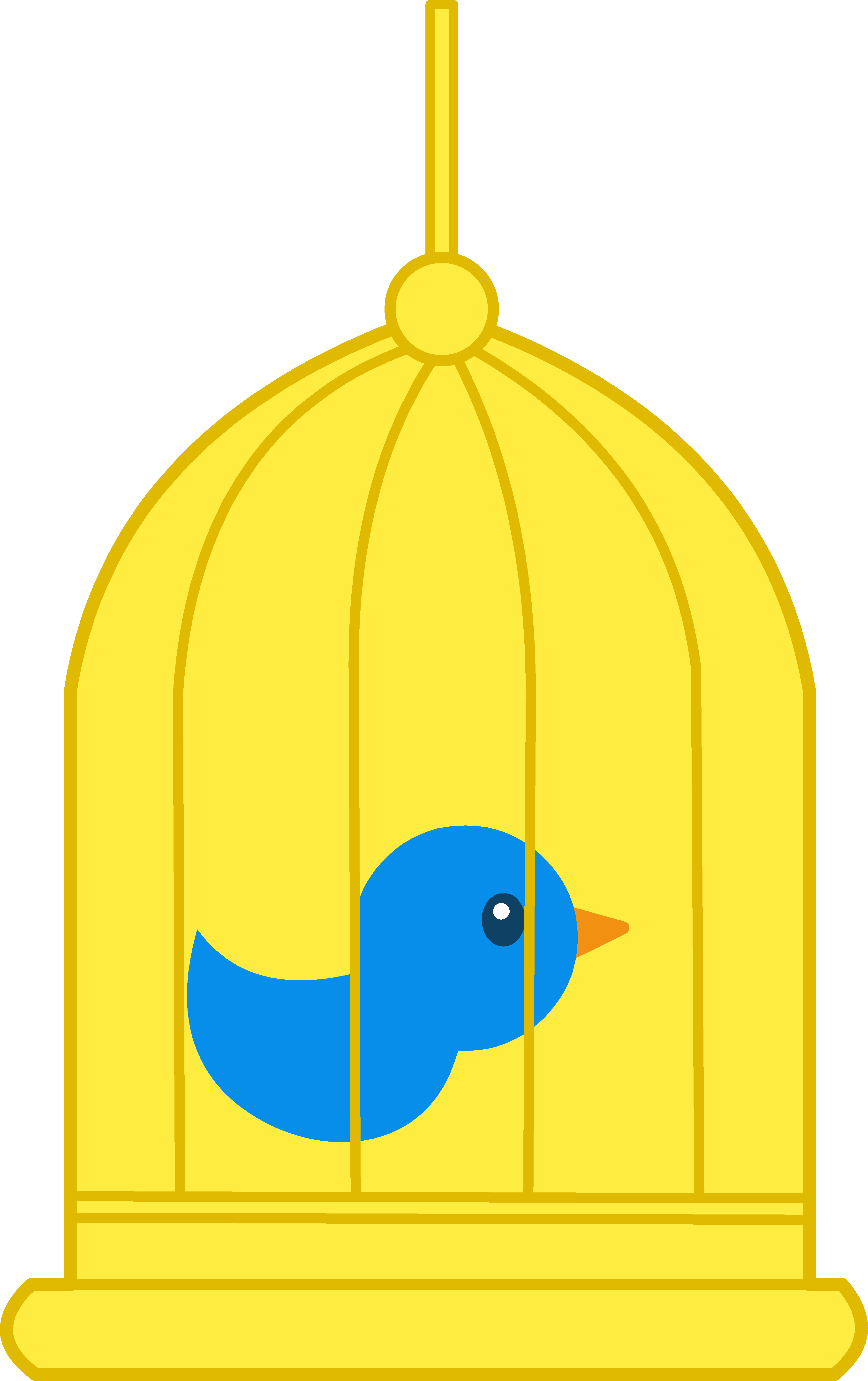 Pet bird cage . Spaceship clipart yellow