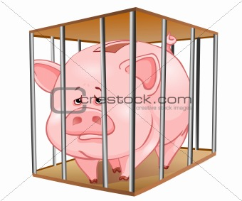 Image piggy bank in. Cage clipart pig