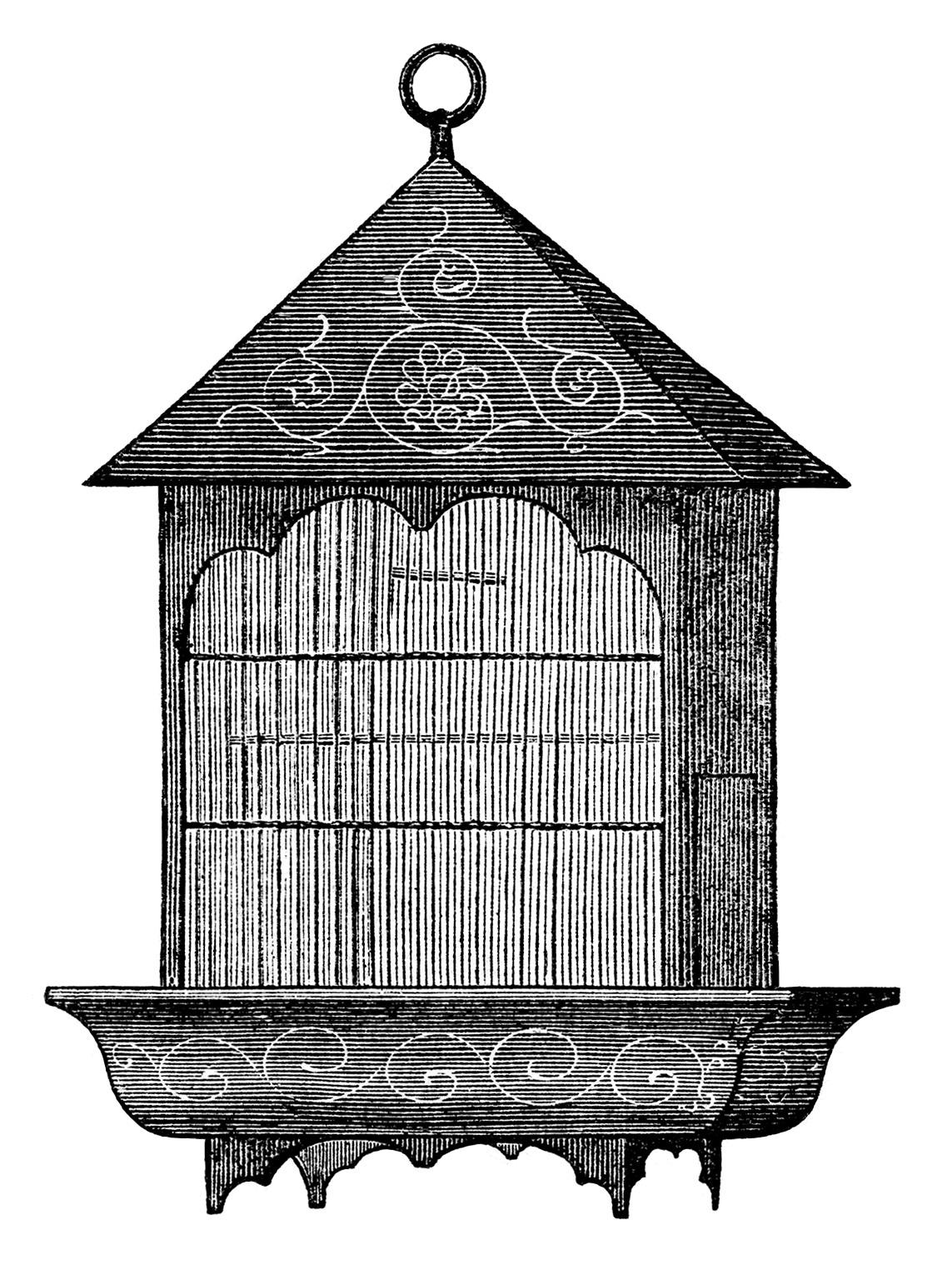 Cage clipart printable. Free vintage birdcage clip