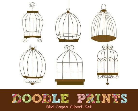 Digital clip art bird. Cage clipart printable
