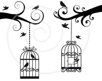 Cage clipart printable. Birdcage clip art etsy