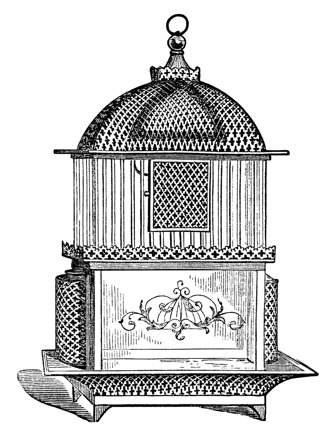 Free vintage birdcage clip. Cage clipart printable