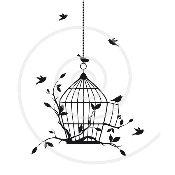 Birds with open birdcage. Cage clipart printable
