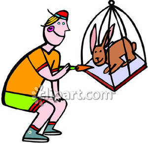 Cage clipart rabbit cage. A man feeding carrot