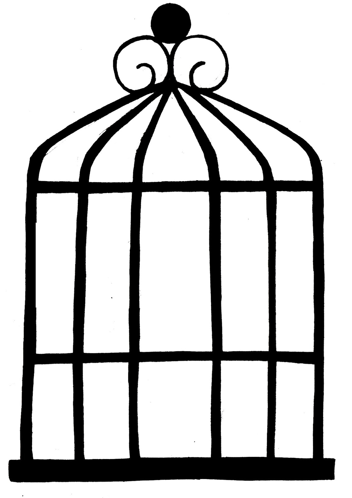 Cage clipart sketch. Bird in drawing simple