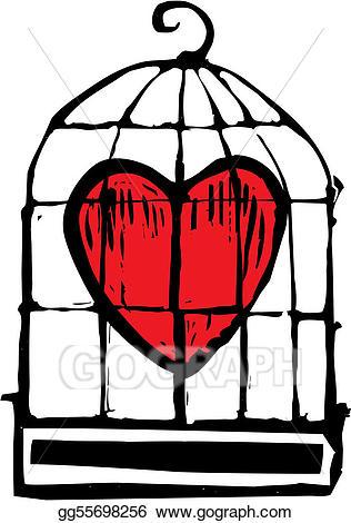 Vector art heart in. Cage clipart sketch