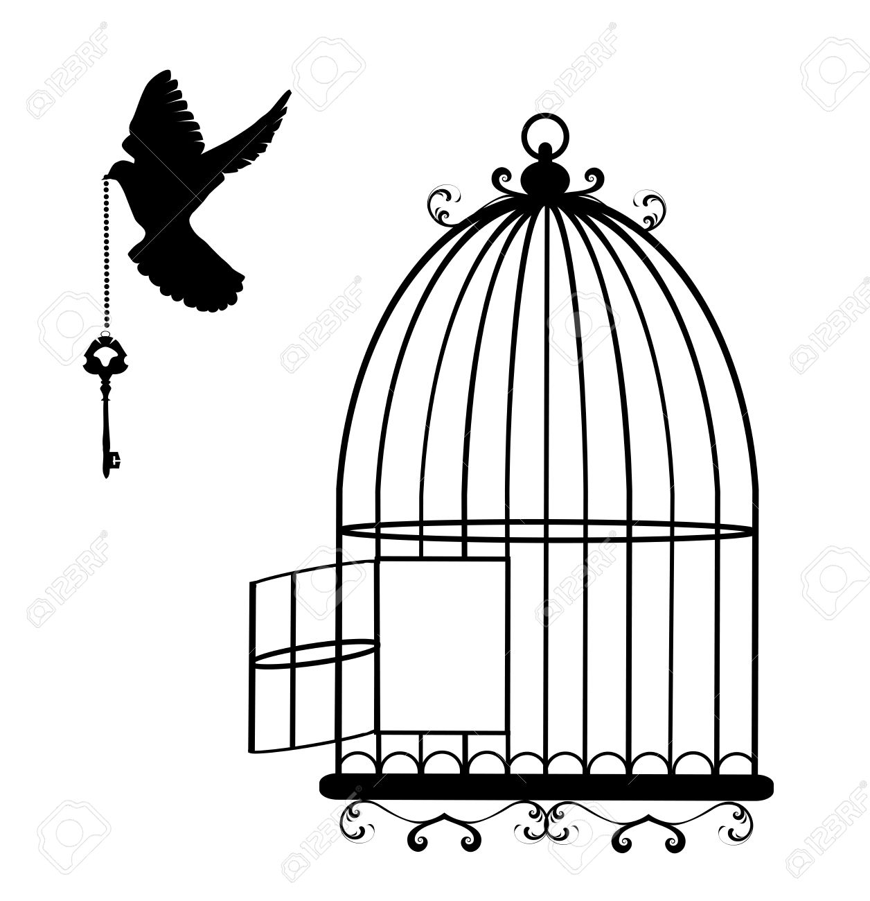 Bird flying out of. Cage clipart sketch