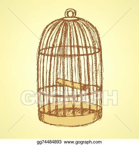 Cage clipart sketch. Vector stock bird in